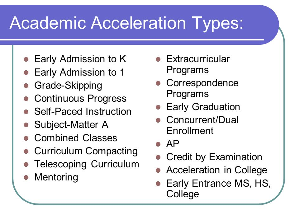 Academic Acceleration Types: