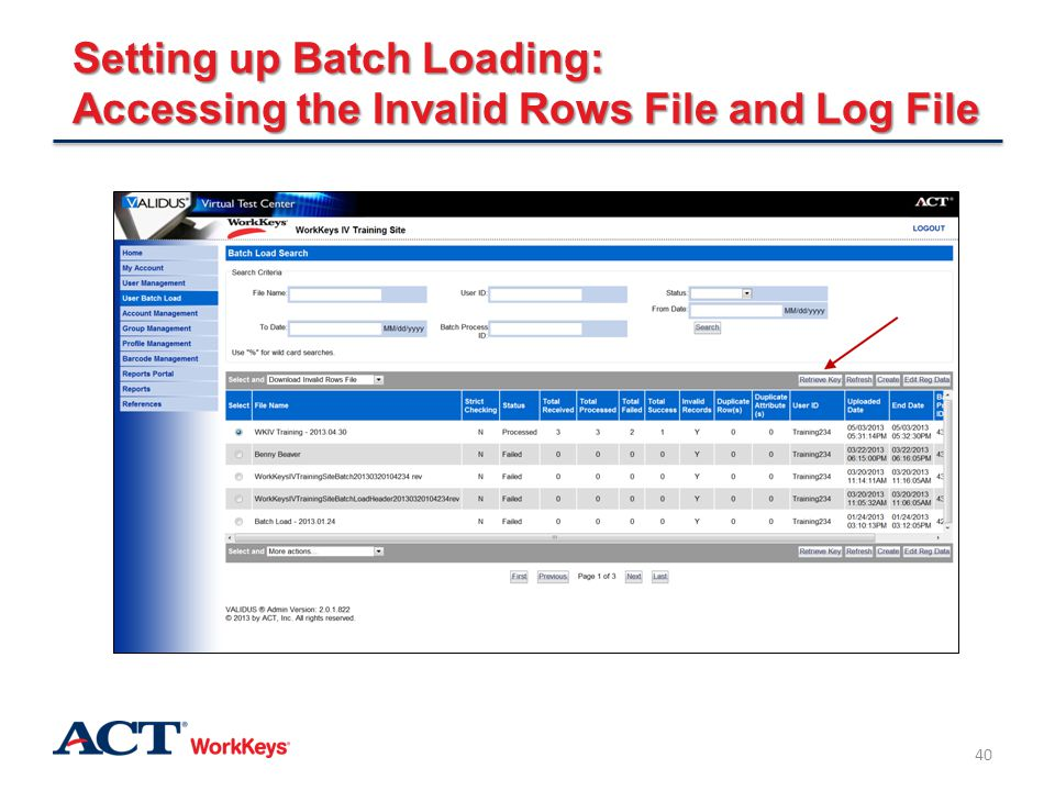 Setting up Batch Loading: Accessing the Invalid Rows File and Log File