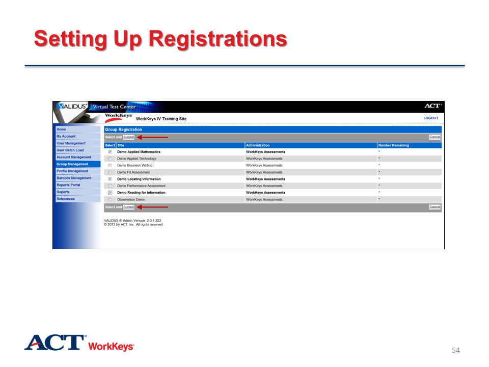 Setting Up Registrations