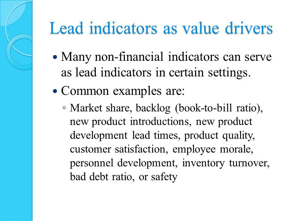 Lead indicators as value drivers