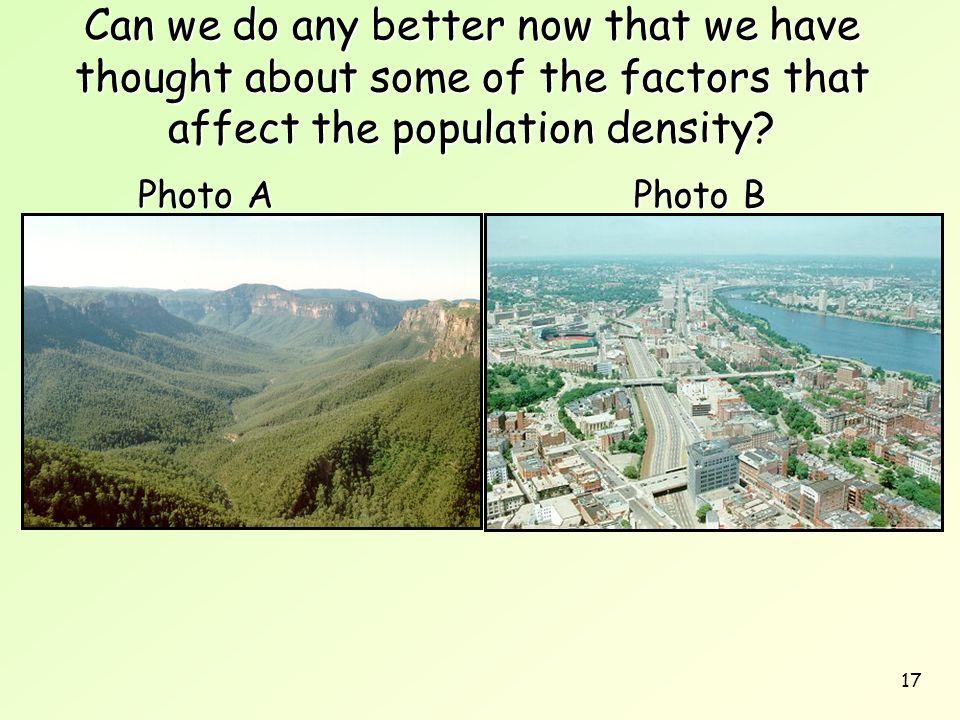 Can we do any better now that we have thought about some of the factors that affect the population density