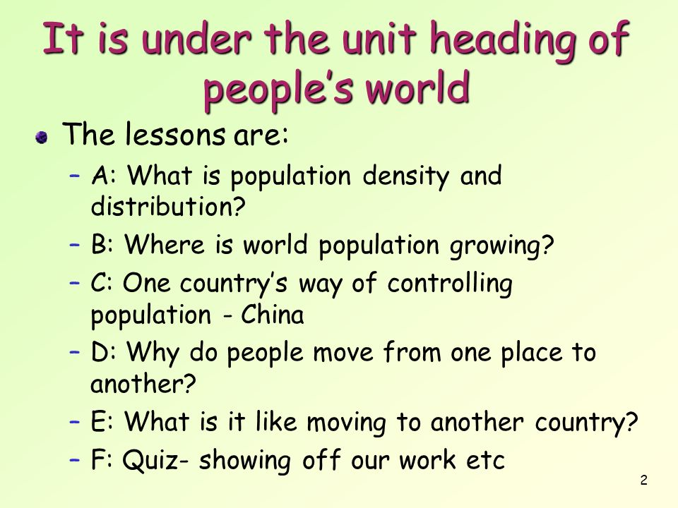 It is under the unit heading of people's world