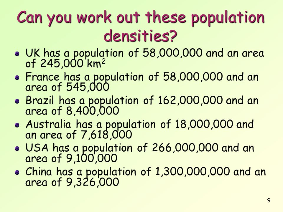 Can you work out these population densities