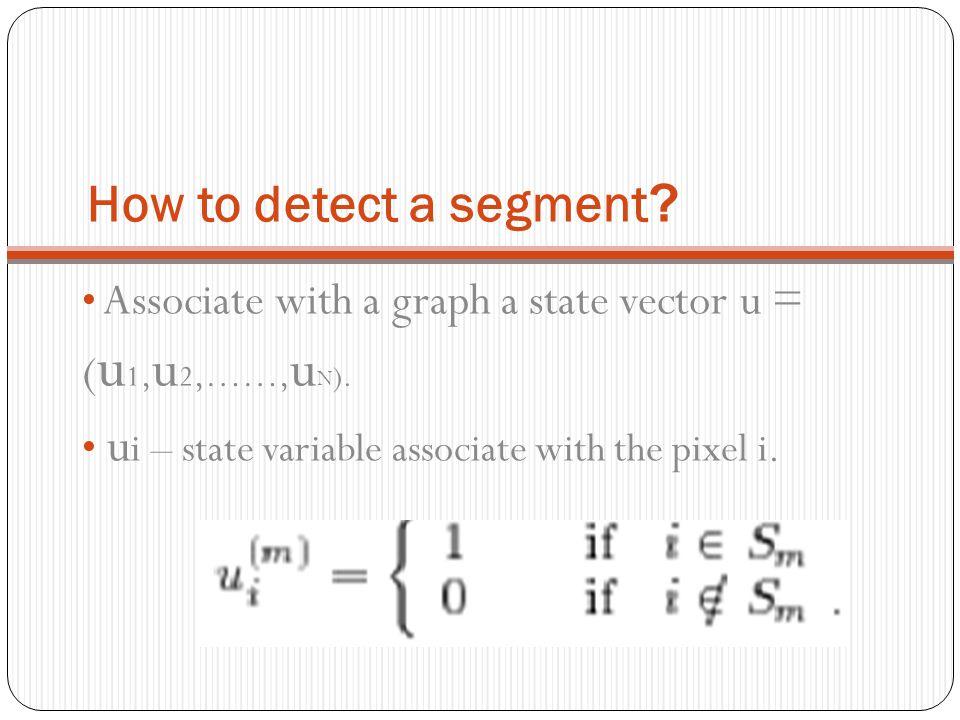 How to detect a segment Associate with a graph a state vector u = (u1,u2,……,uN).