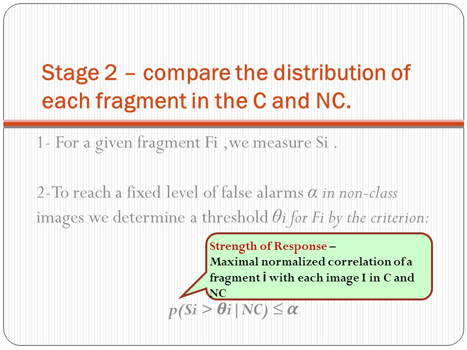 Stage 2 – compare the distribution of each fragment in the C and NC.