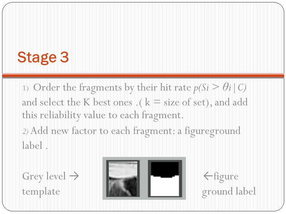 Stage 3 1) Order the fragments by their hit rate p(Si > θi|C)