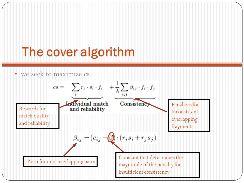 The cover algorithm we seek to maximize cs.