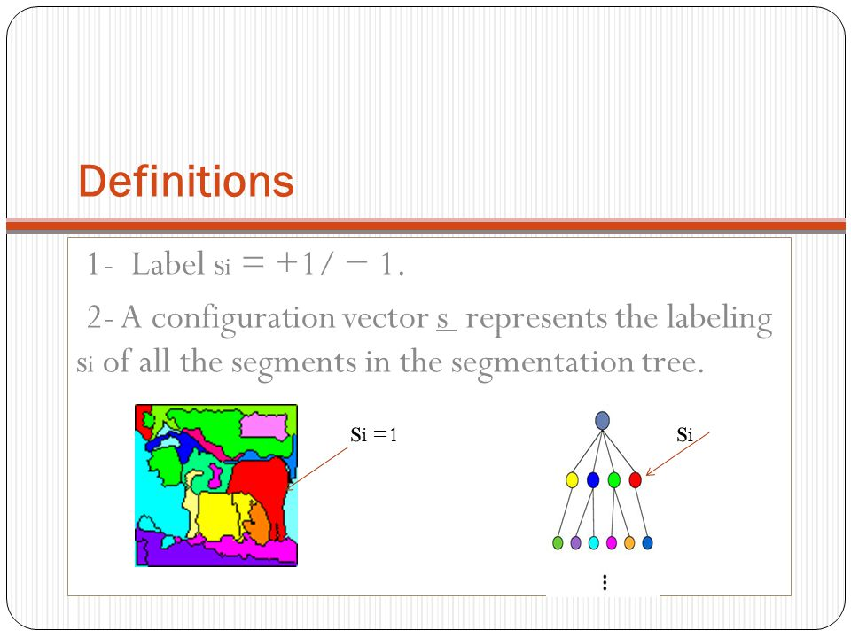 Definitions 1- Label si = +1/ − 1.