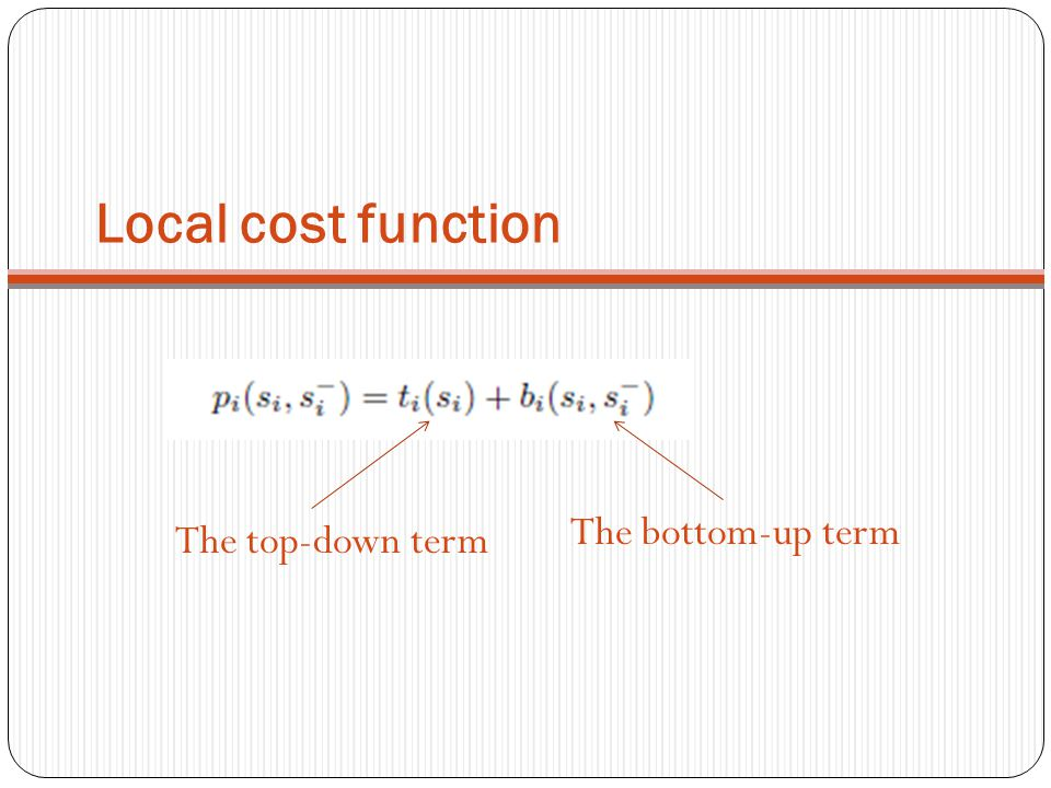 Local cost function The bottom-up term The top-down term