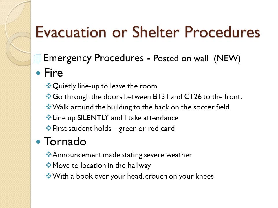 Evacuation or Shelter Procedures