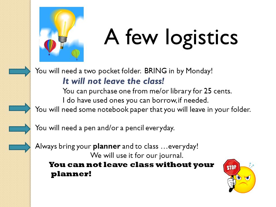 A few logistics You will need a two pocket folder. BRING in by Monday!