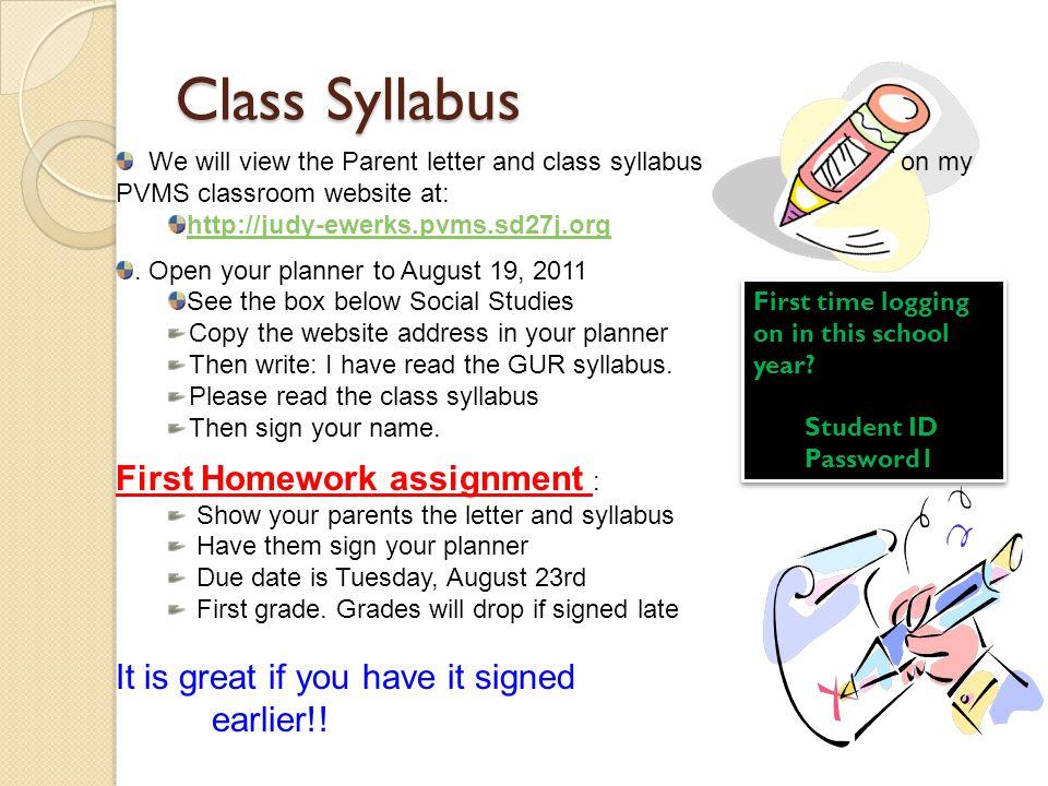 Class Syllabus First Homework assignment :