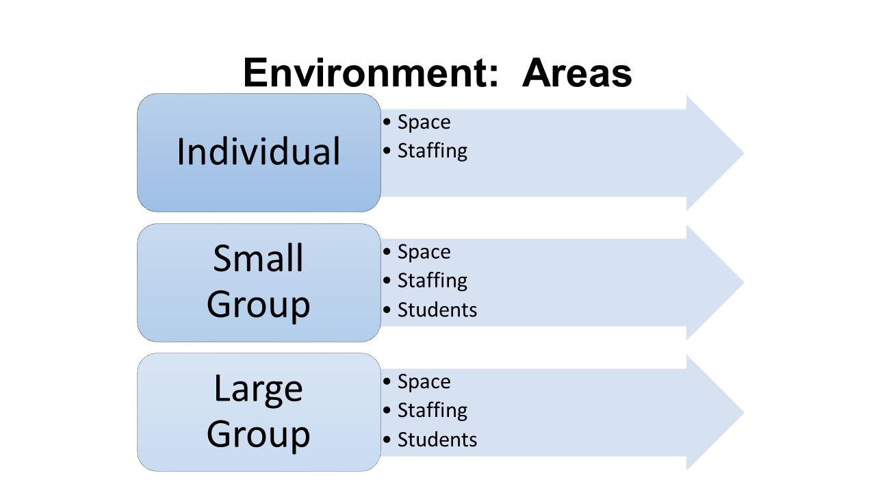 Environment: Areas Individual Space Staffing Small Group Students
