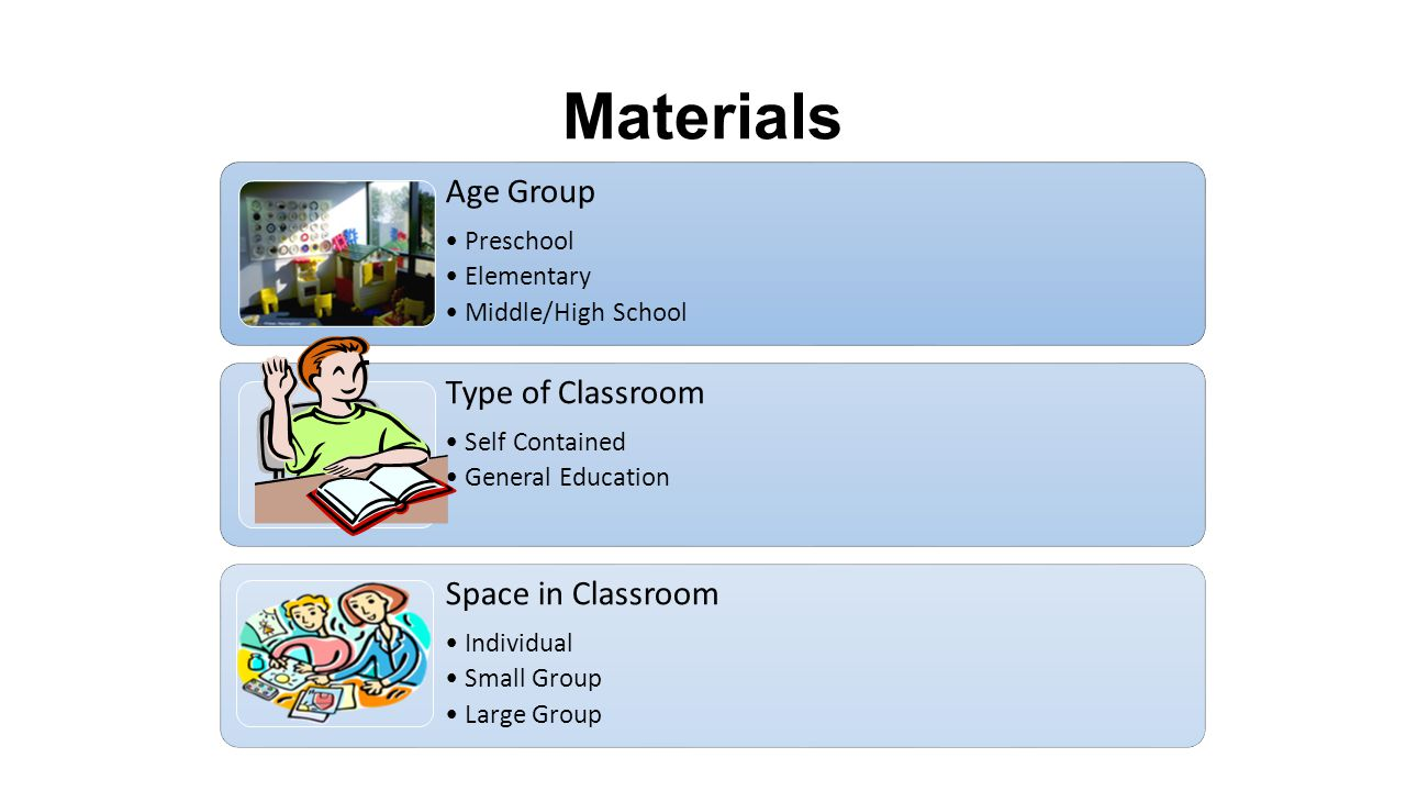 Materials Age Group Preschool Elementary Middle/High School