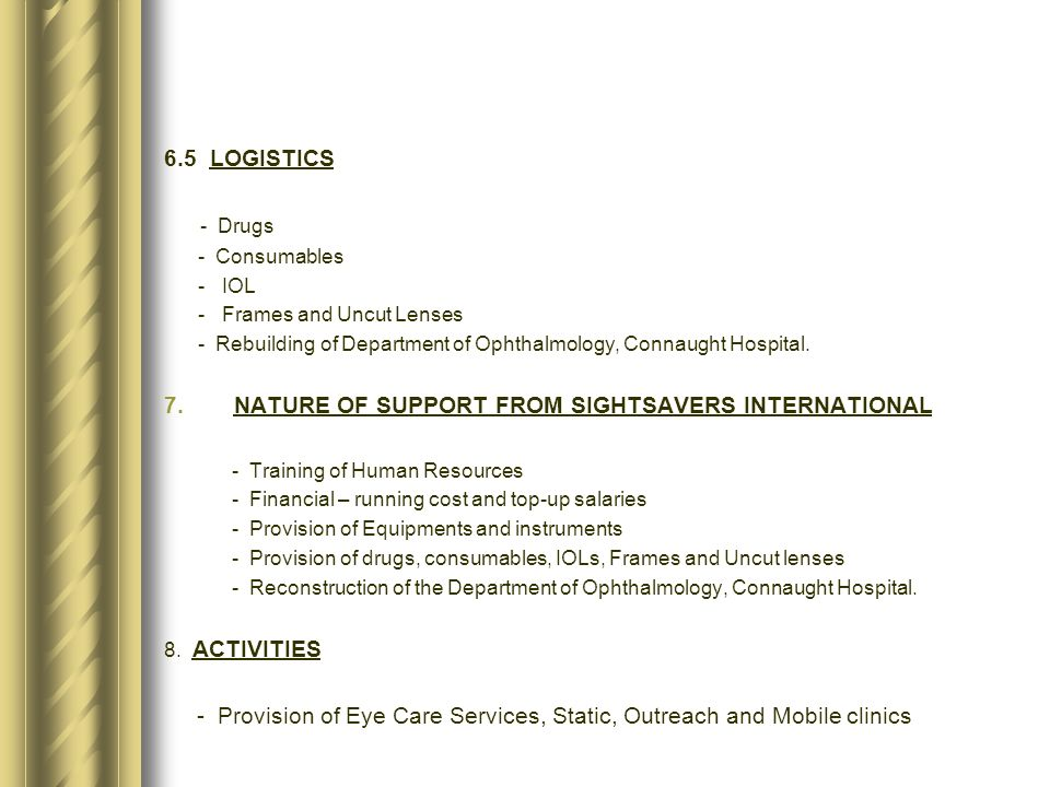 NATURE OF SUPPORT FROM SIGHTSAVERS INTERNATIONAL