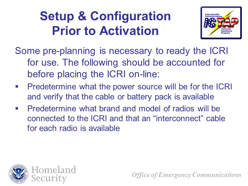 Setup & Configuration Prior to Activation