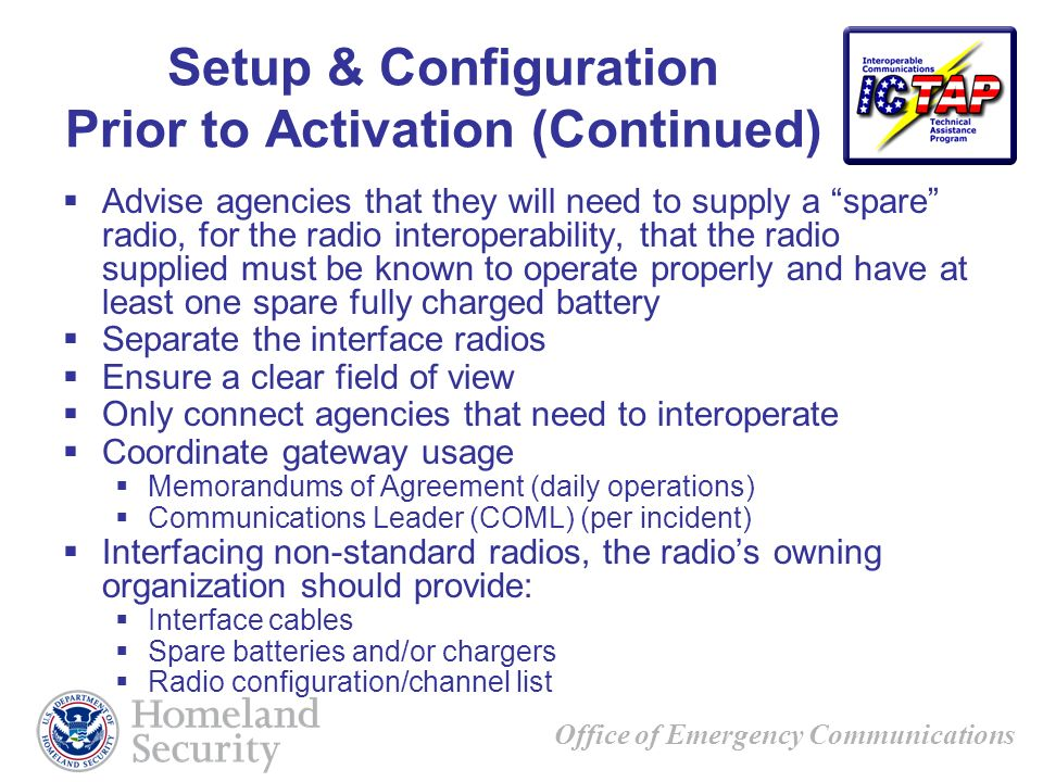 Setup & Configuration Prior to Activation (Continued)