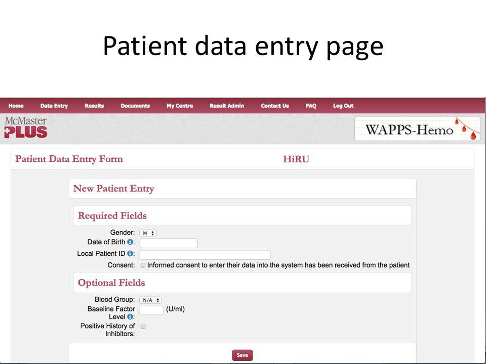 Patient data entry page