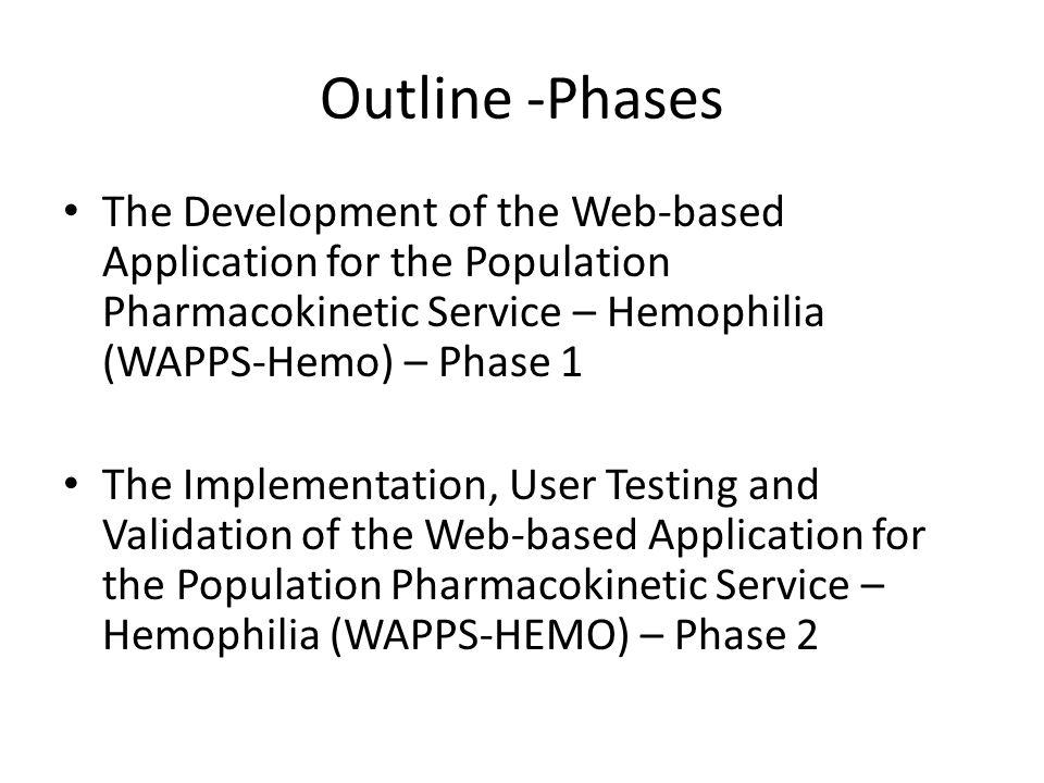 Outline -Phases The Development of the Web-based Application for the Population Pharmacokinetic Service – Hemophilia (WAPPS-Hemo) – Phase 1.