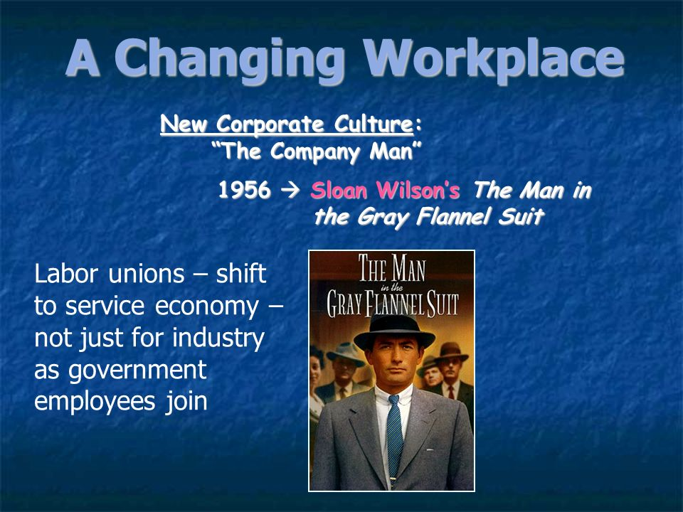 A Changing WorkplaceNew Corporate Culture: The Company Man 1956  Sloan Wilson's The Man in the Gray Flannel Suit.