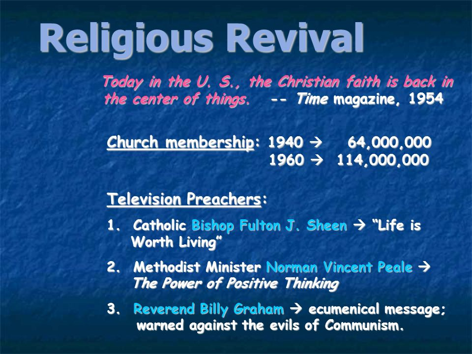 Religious RevivalToday in the U. S., the Christian faith is back in the center of things. -- Time magazine, 1954.