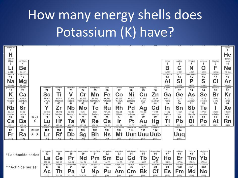How many energy shells does Potassium (K) have