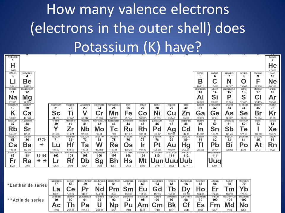 How many valence electrons (electrons in the outer shell) does Potassium (K) have