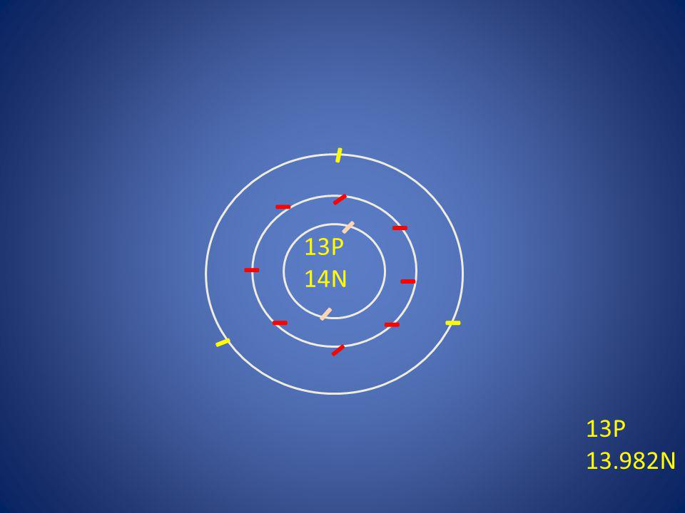 - - - - - - 13P 14N - - - - - - - 13P 13.982N