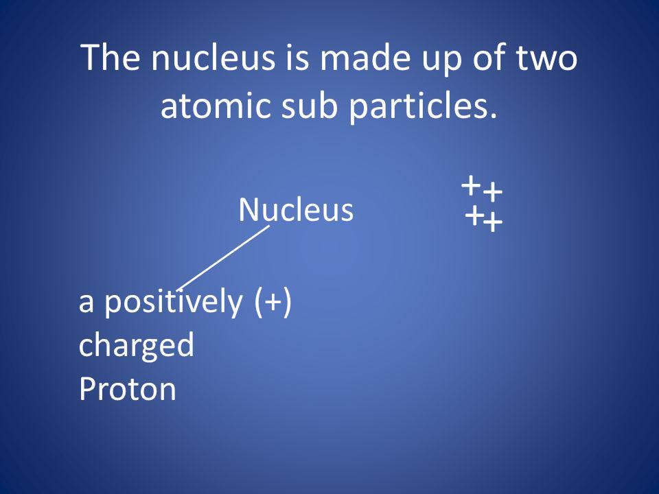 The nucleus is made up of two atomic sub particles.