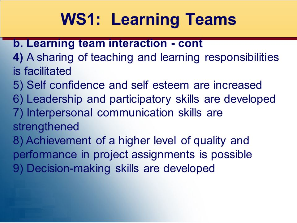 WS1: Learning Teams b. Learning team interaction - cont