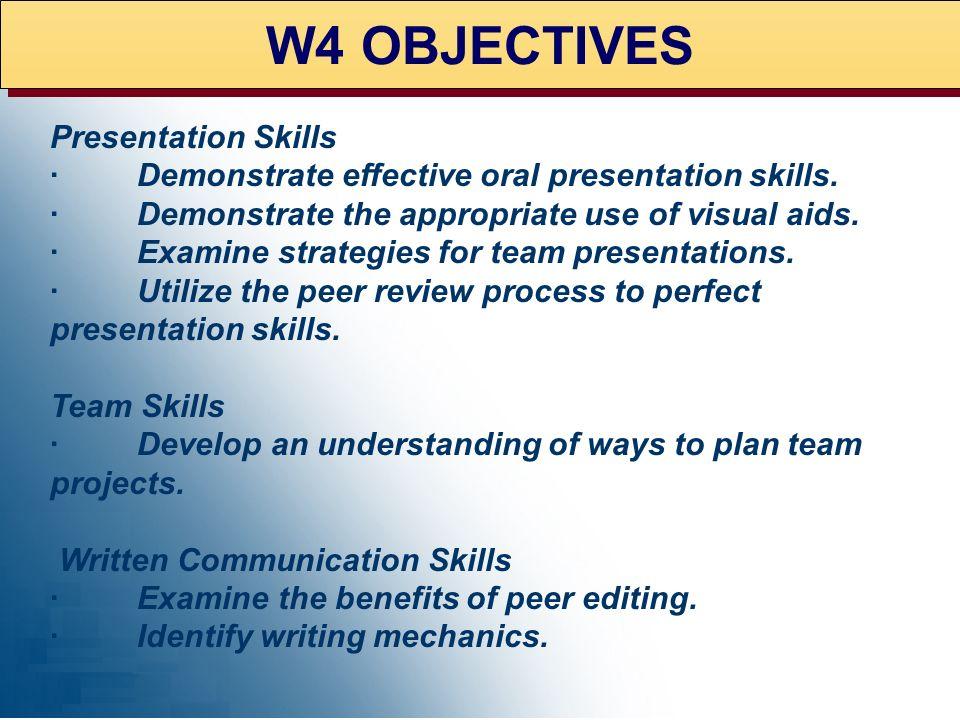 W4 OBJECTIVES Presentation Skills