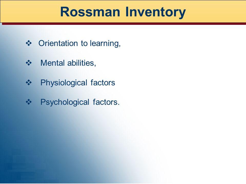 Rossman Inventory v Orientation to learning, v Mental abilities,