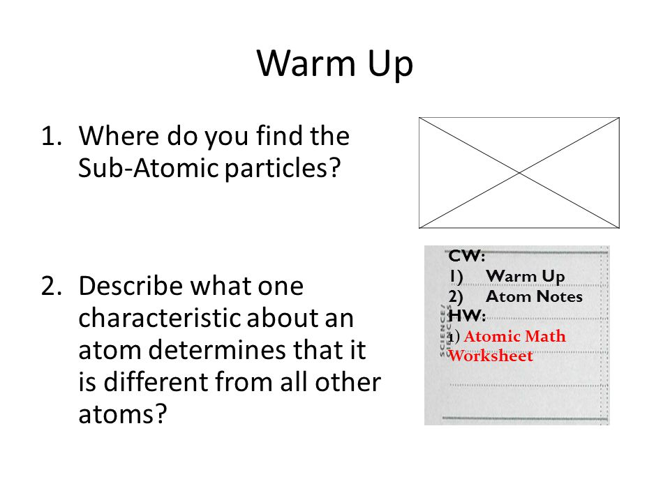 Warm Up Where do you find the Sub-Atomic particles