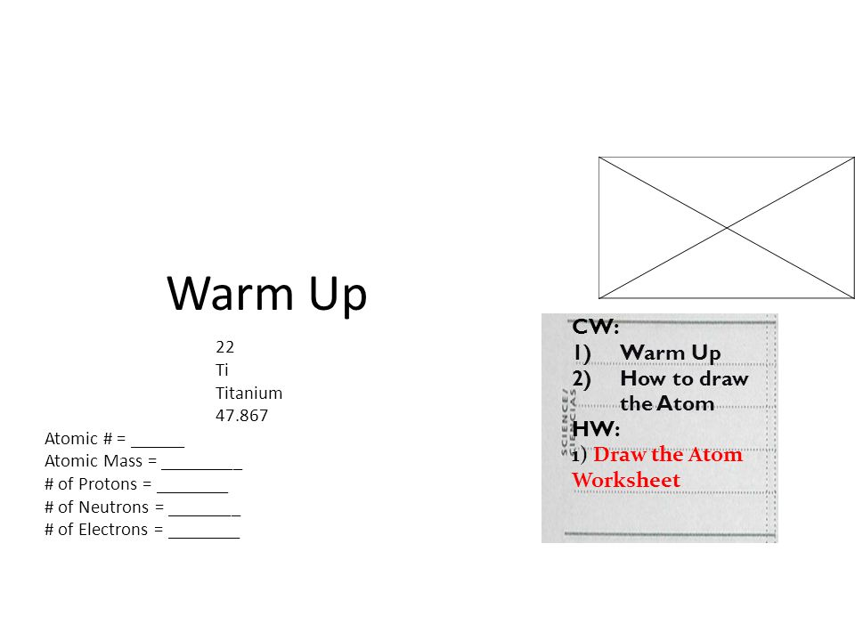 Warm Up CW: Warm Up How to draw the Atom HW: