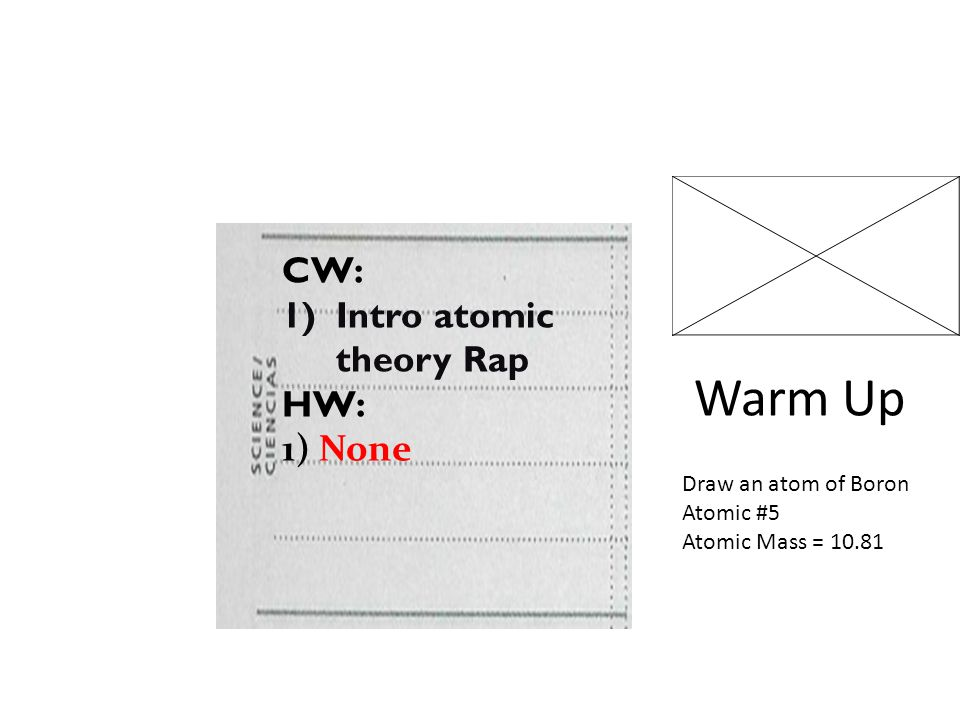 Warm Up CW: Intro atomic theory Rap HW: 1) None Draw an atom of Boron