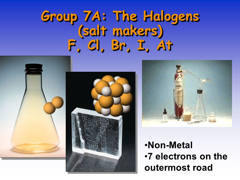Group 7A: The Halogens (salt makers) F, Cl, Br, I, At