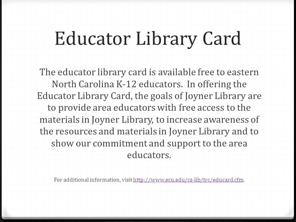 Educator Library Card