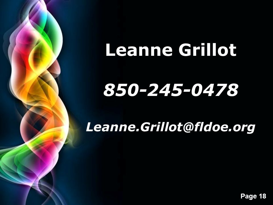 Leanne Grillot 850-245-0478 Leanne.Grillot@fldoe.org