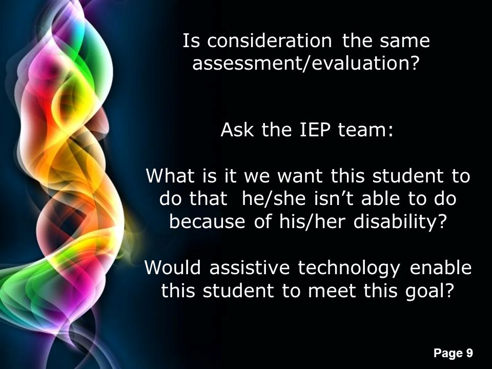 Is consideration the same assessment/evaluation