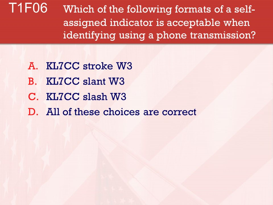 T1F06. Which of the following formats of a self-