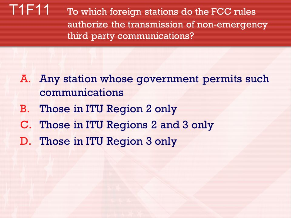 T1F11. To which foreign stations do the FCC rules