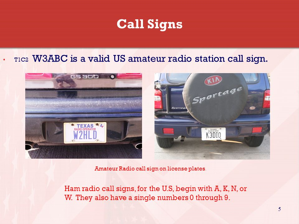 Call SignsT1C2 W3ABC is a valid US amateur radio station call sign. Amateur Radio call sign on license plates.