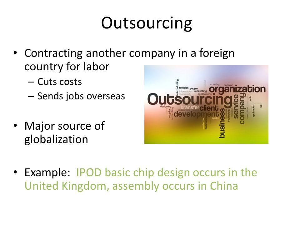 Outsourcing Contracting another company in a foreign country for labor