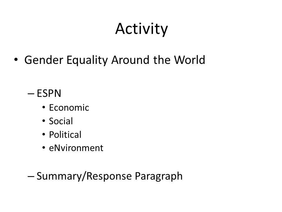 Activity Gender Equality Around the World ESPN