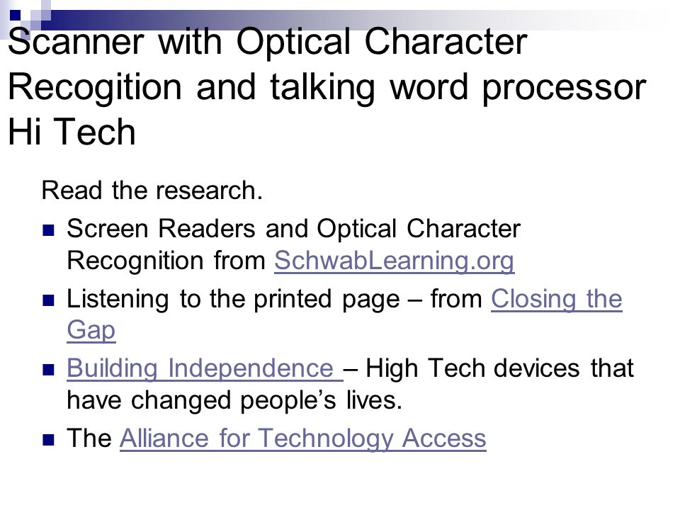 Scanner with Optical Character Recogition and talking word processor Hi Tech