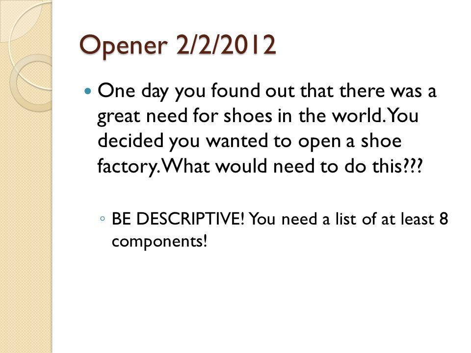 Opener 2/2/2012