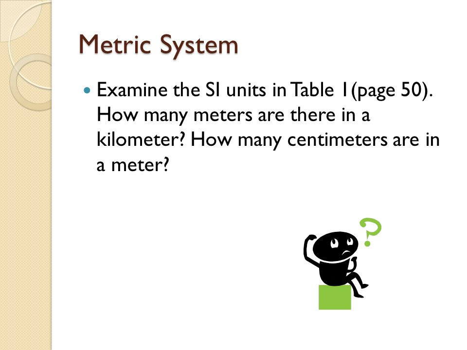 Metric System Examine the SI units in Table 1(page 50).