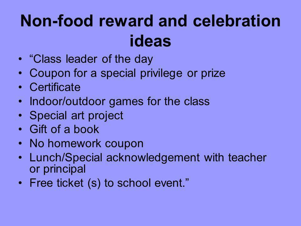 Non-food reward and celebration ideas