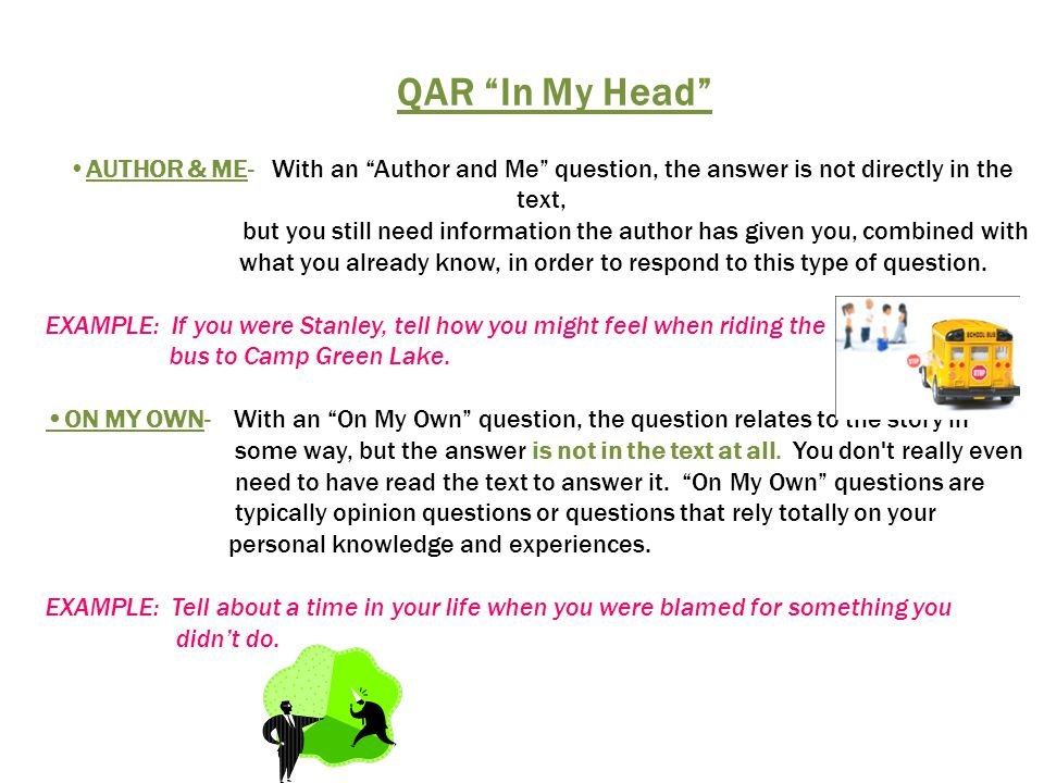 QAR In My Head AUTHOR & ME- With an Author and Me question, the answer is not directly in the text,