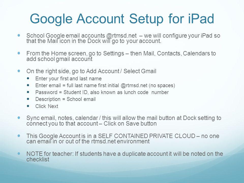 Google Account Setup for iPad